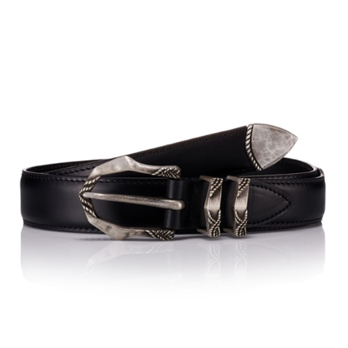 SAVAGE[SAVAGE] 160 Leather Belt - Black