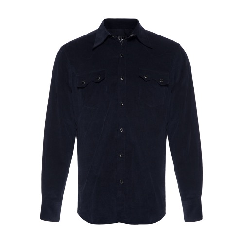 [SAVAGE] Corduroy Western Shirts - Navy