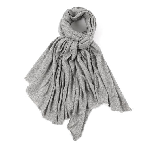 [FRUI X SEDRIC] PURE CASHMERE MUFFLER_HERRINGBONE LIGHT GRAY