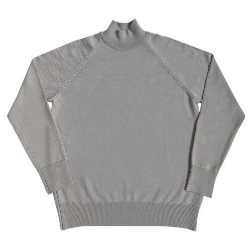 [SORTIE]Superfine Merino Wool Mock-neck (Light gray)