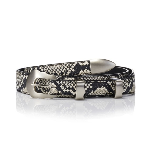 SAVAGE[SAVAGE] 170 Leather Belt - Python (Snakeskin-Embossed)