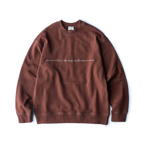 [ESFAI] sf04 color stitch sweat shirt (Brown)