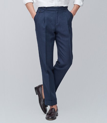 MEVERICKLINEN TROUSERS - NAVY COLOR