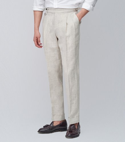 MEVERICKLINEN TROUSERS - SAND COLOR