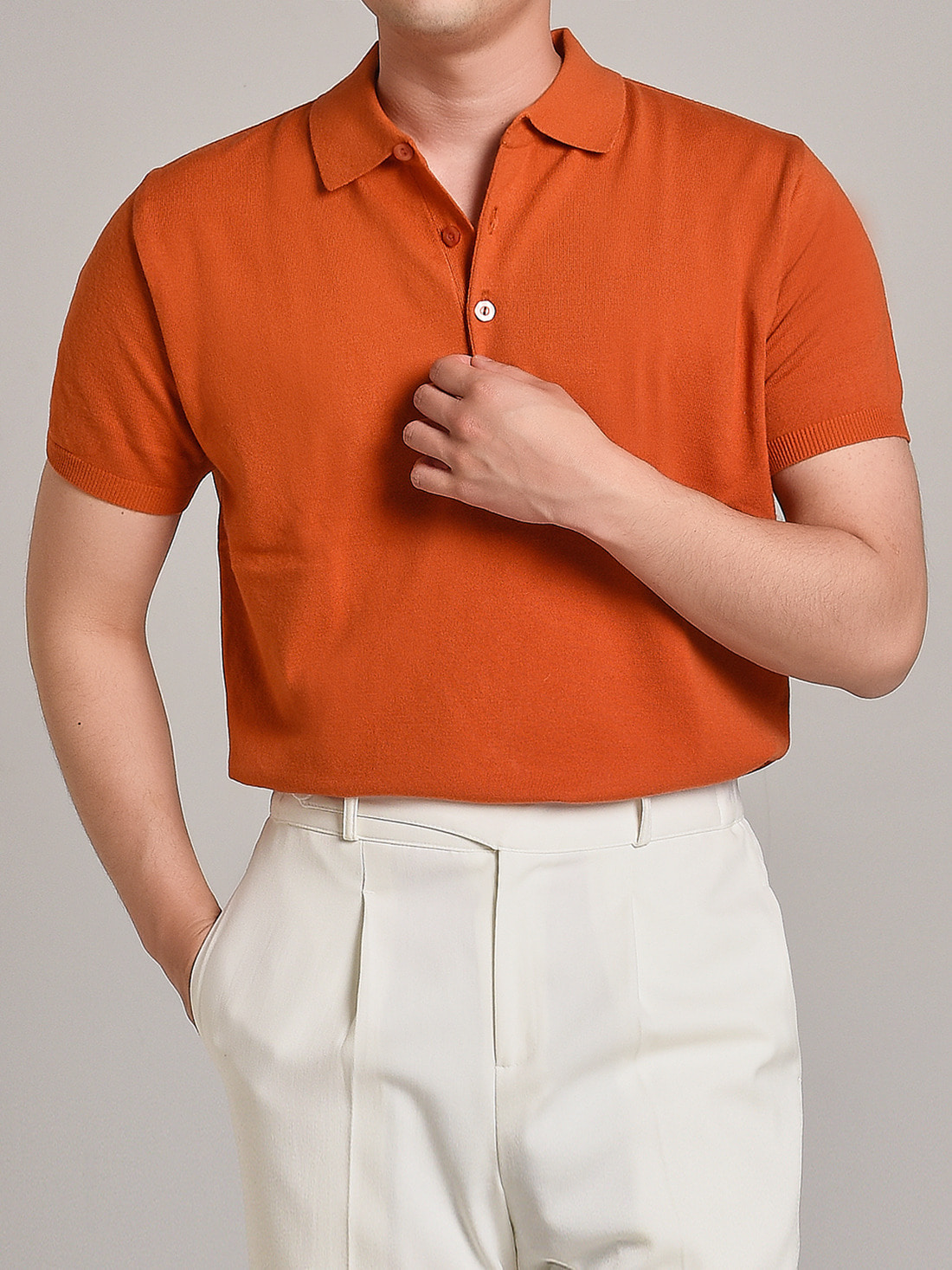 DEVERMAN[DEVERMAN]soft touch solid polo knit (orange)