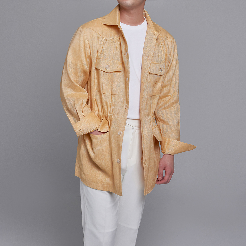 DEVERMAN[DEVERMAN]linen herringbone shirring jacket ((yellow)