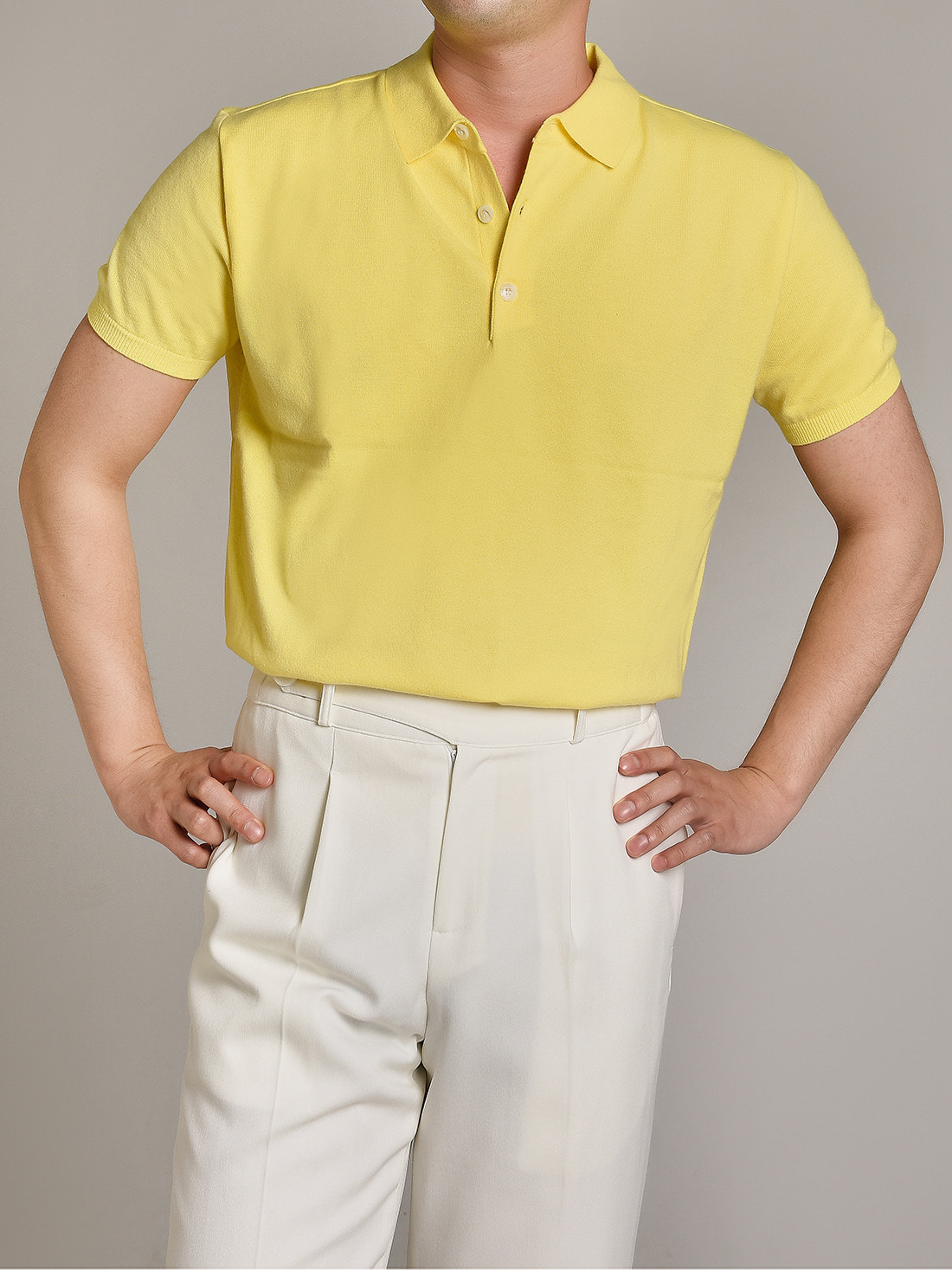 DEVERMAN[DEVERMAN]soft touch solid polo knit (yellow)