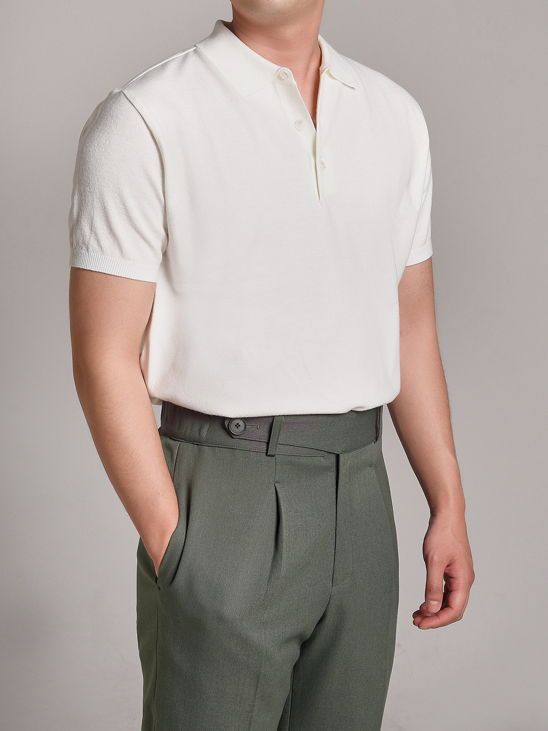 DEVERMAN[DEVERMAN]soft touch solid polo knit (white)