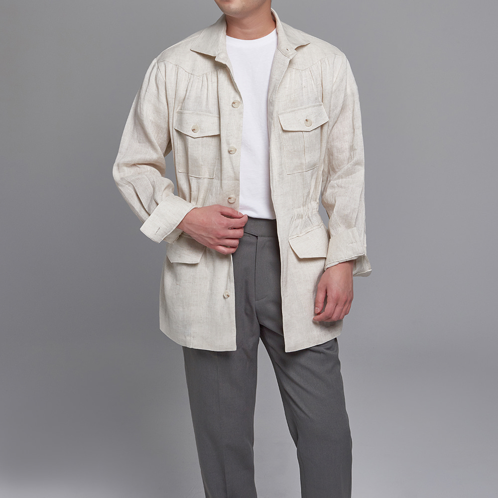 DEVERMAN[DEVERMAN]linen herringbone shirring jacket (light beige)