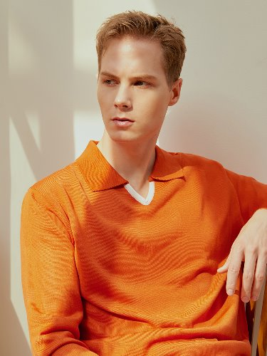 DEVERMAN[DEVERMAN]V neck polo knit (orange)