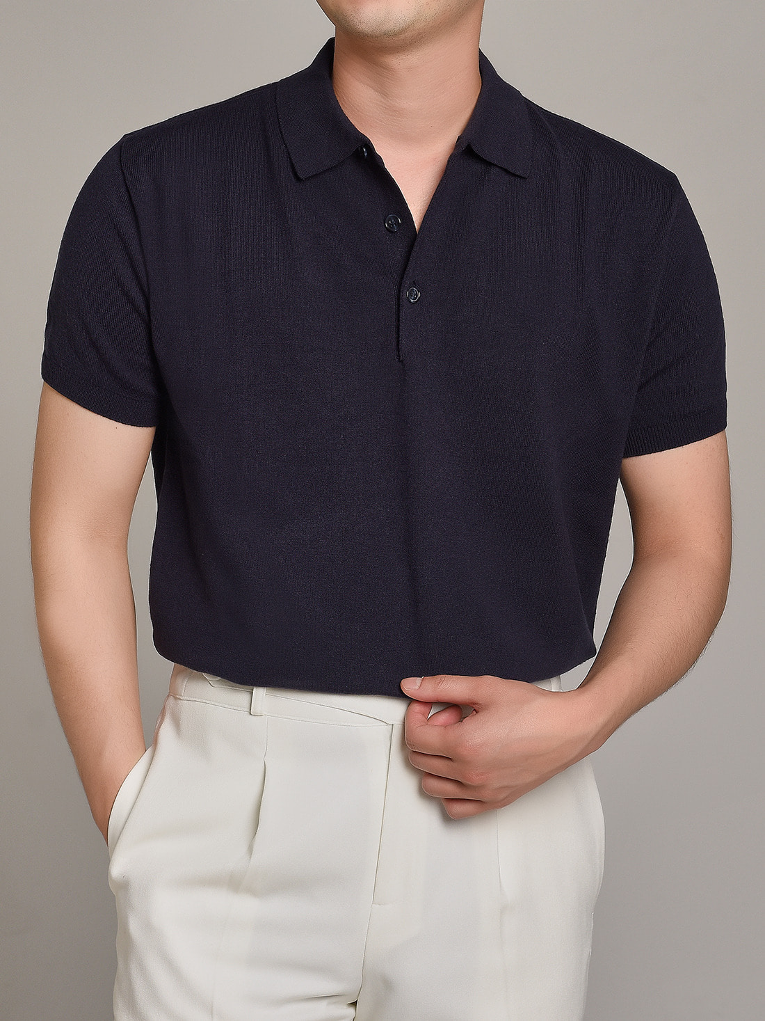 DEVERMAN[DEVERMAN]soft touch solid polo knit (navy)