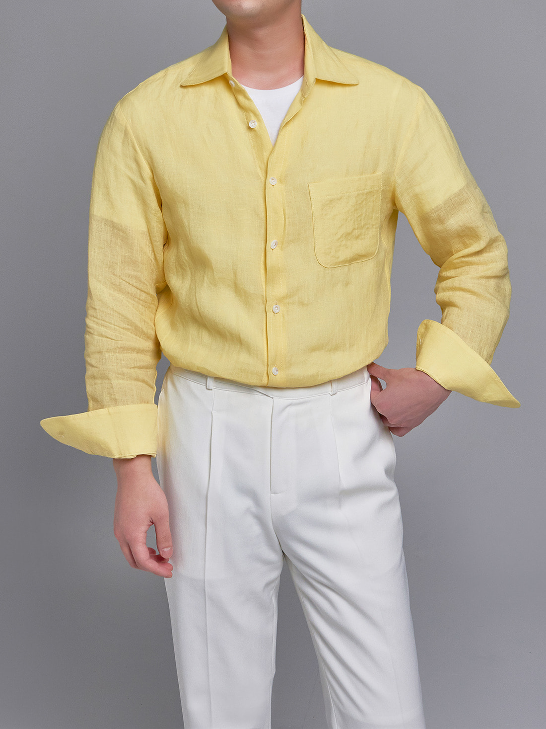 DEVERMAN[DEVERMAN]linen beach shirts (lemon)