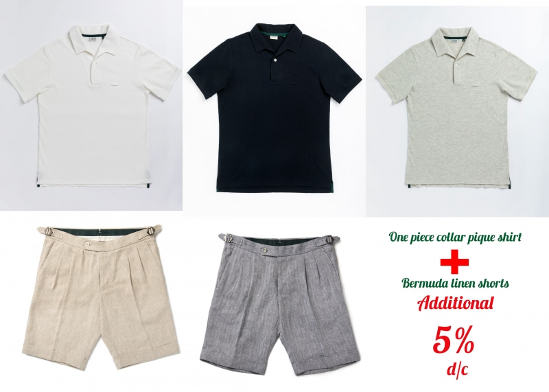 -[L'uniforme] One piece collar pique shirt + Bermuda linen short