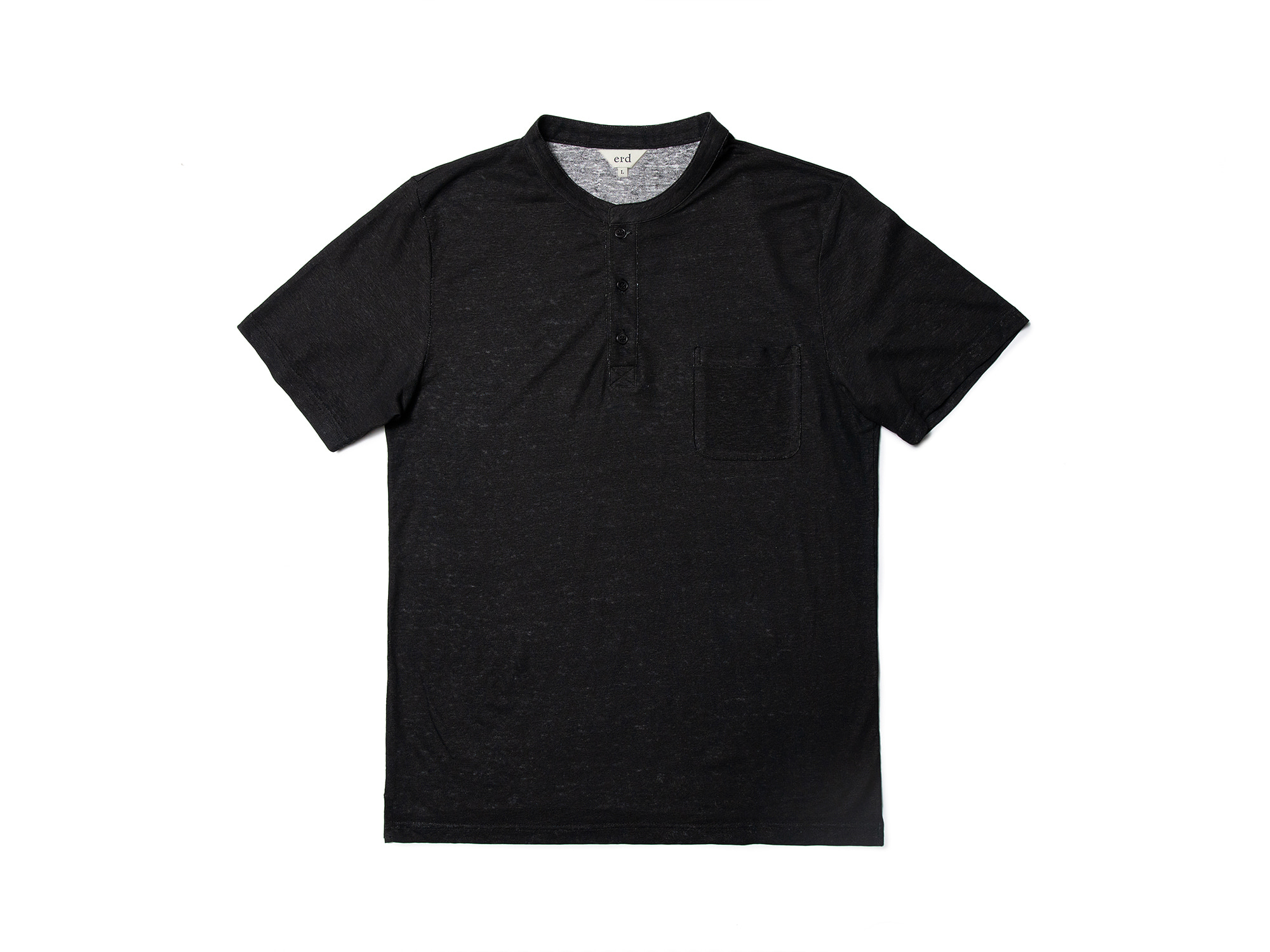 -[ERD] Linen henley neck T - shirts - Black