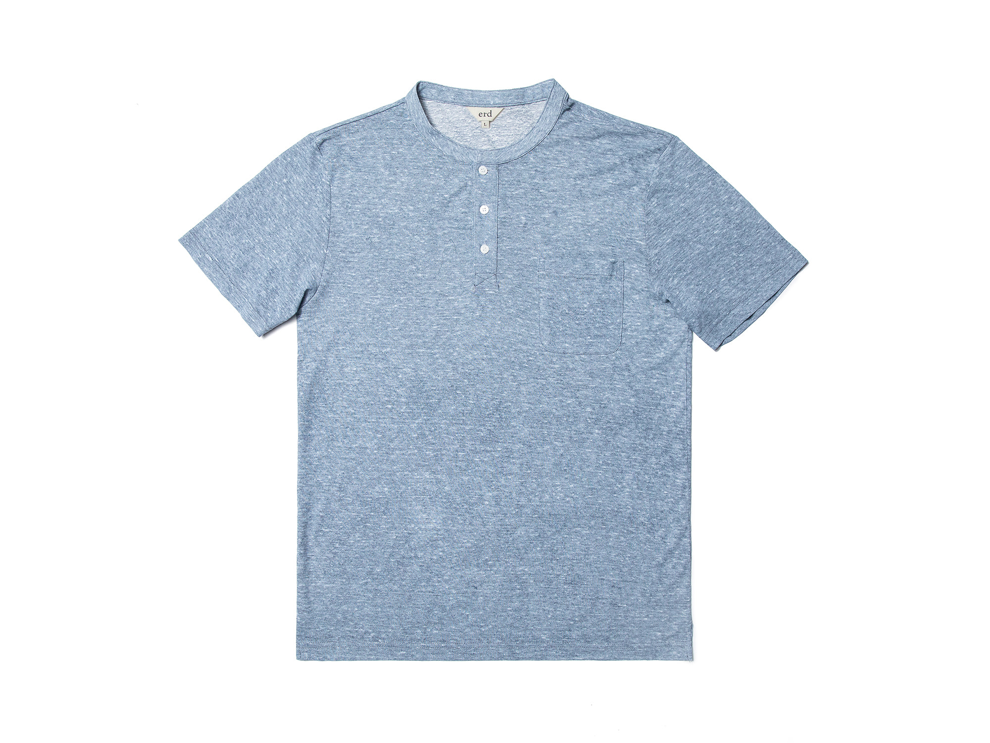 -[ERD] Linen henley neck T - shirts Skyblue