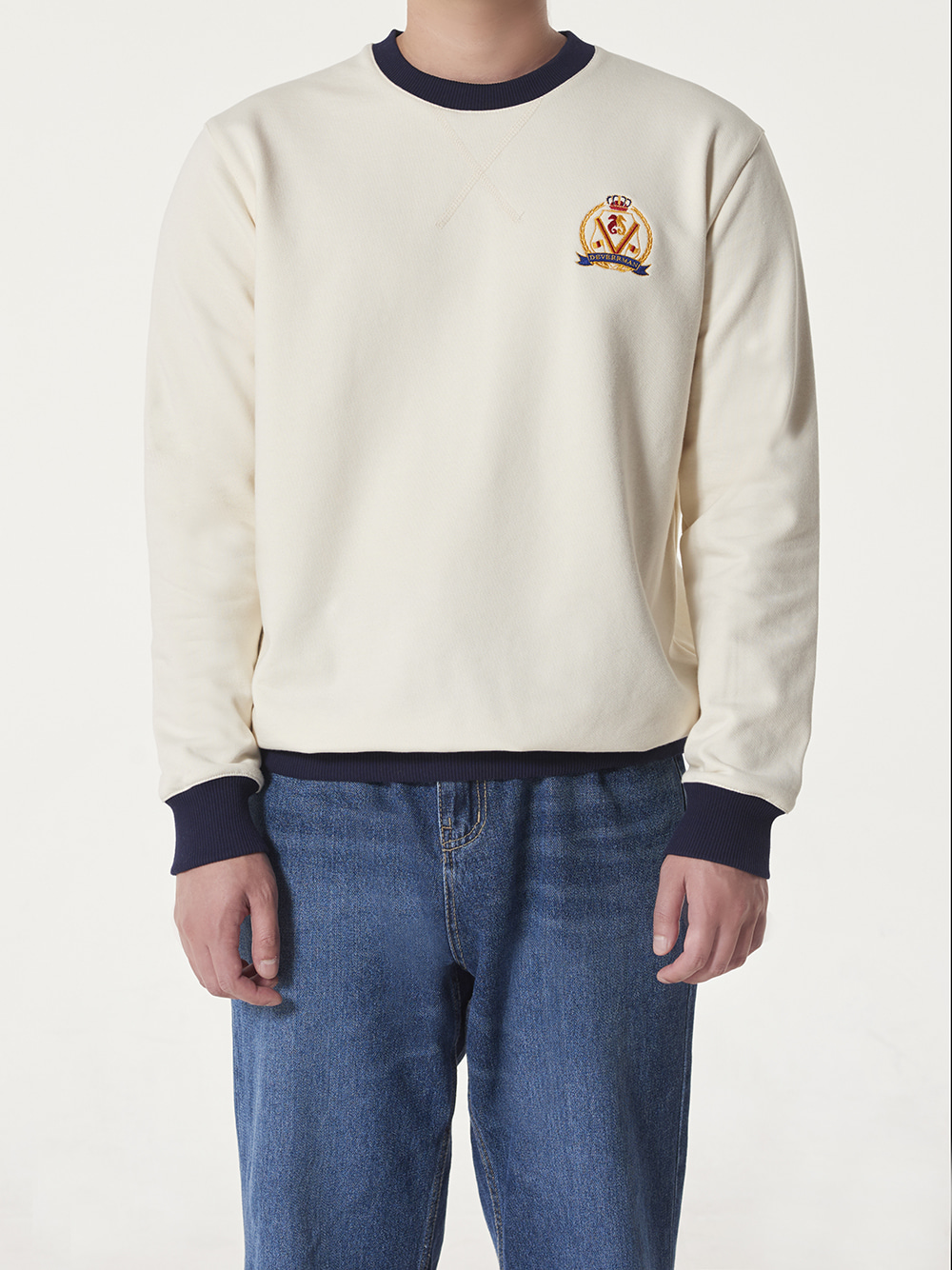 -[Deverrman] emblem sweat shirt (ivory)