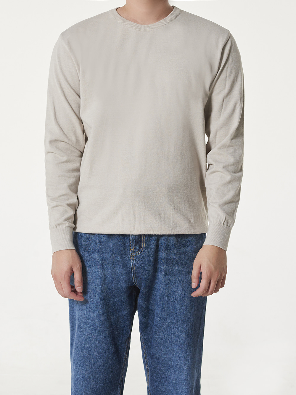 -[DEVERMAN] Soft touch solid crew neck knit (pure grey)