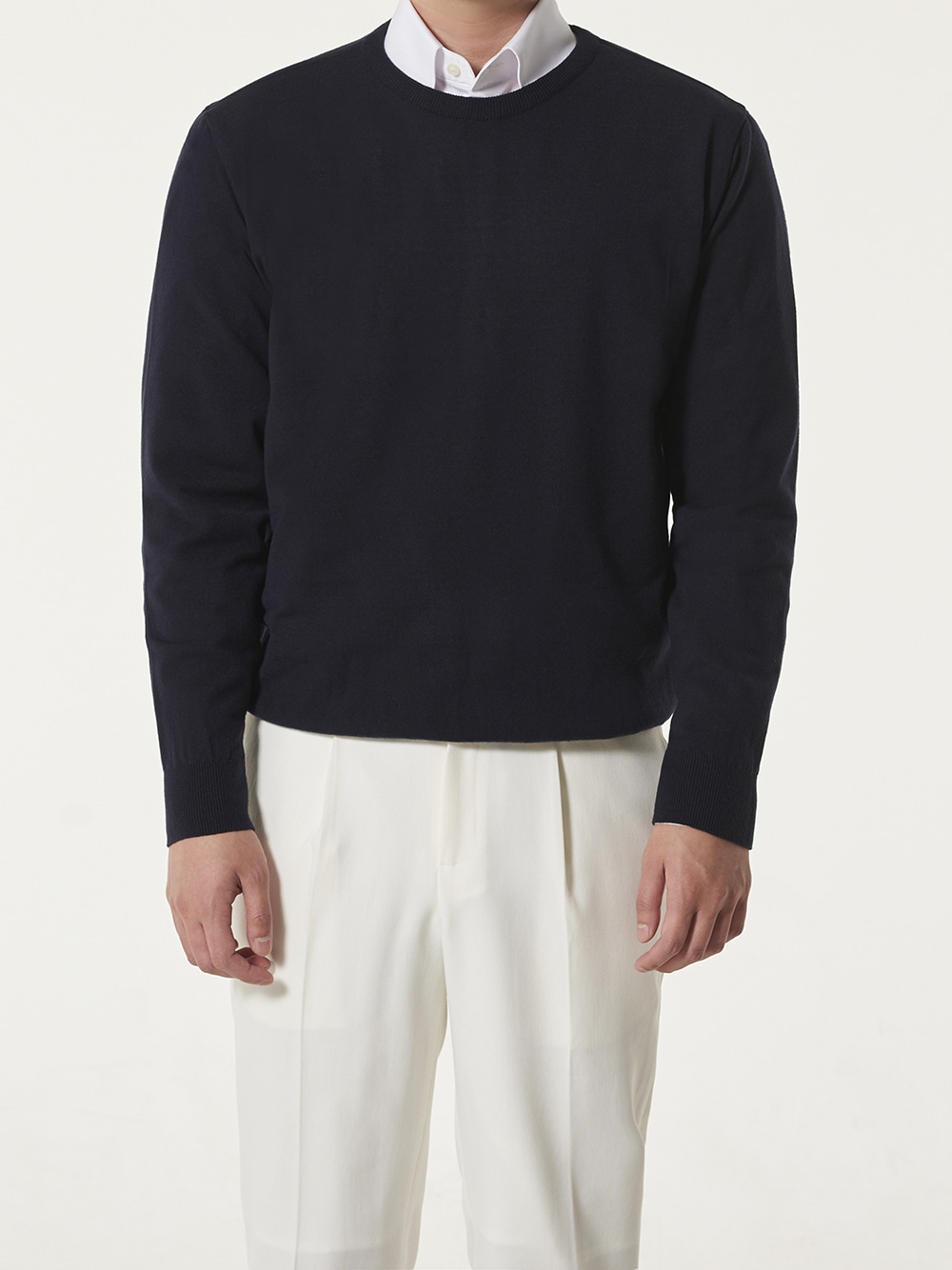 -[DEVERMAN] Soft touch solid crew neck knit (navy)