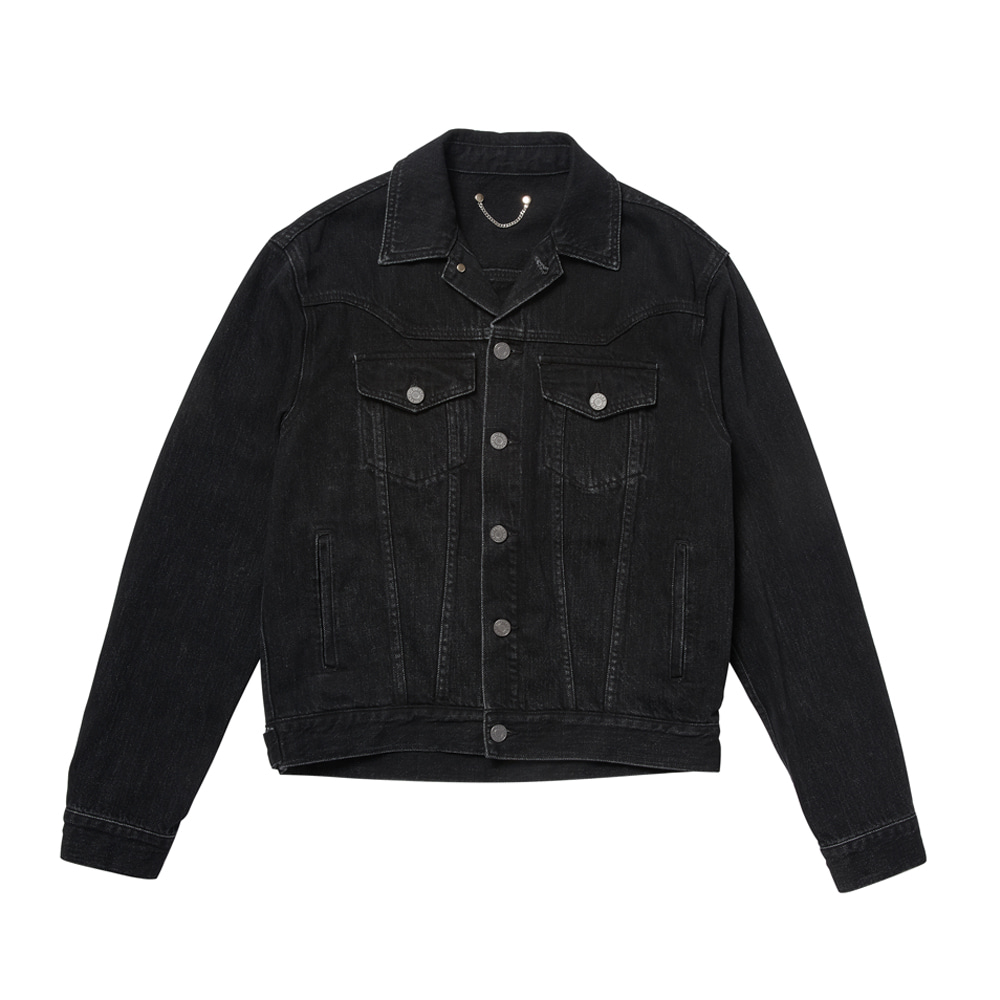 -[SAVAGE] Denim Trucker Jacket - Black