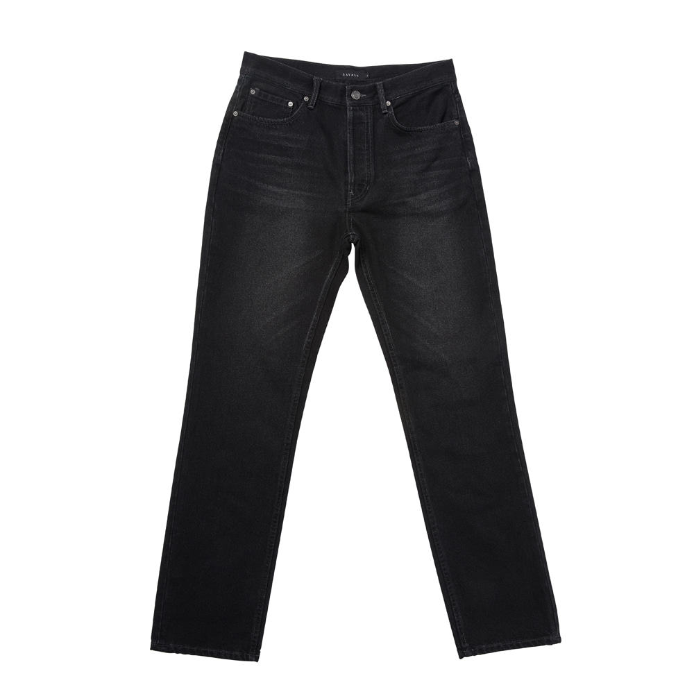 -[SAVAGE] Regular Straight Fit Denim Jeans - Washed Black