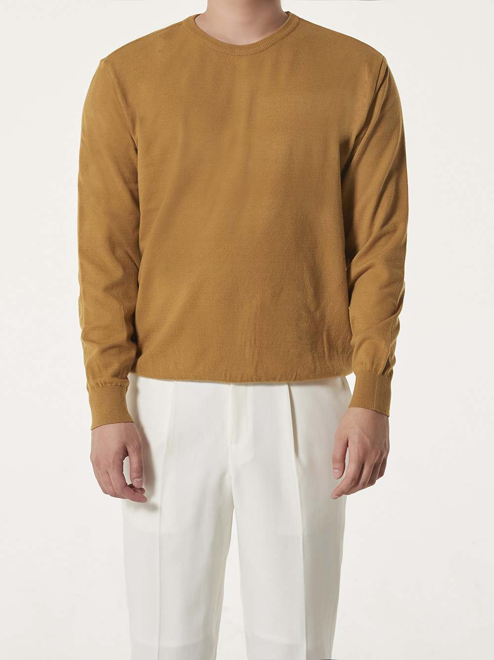 -[DEVERMAN] Soft touch solid crew neck knit (mustard)
