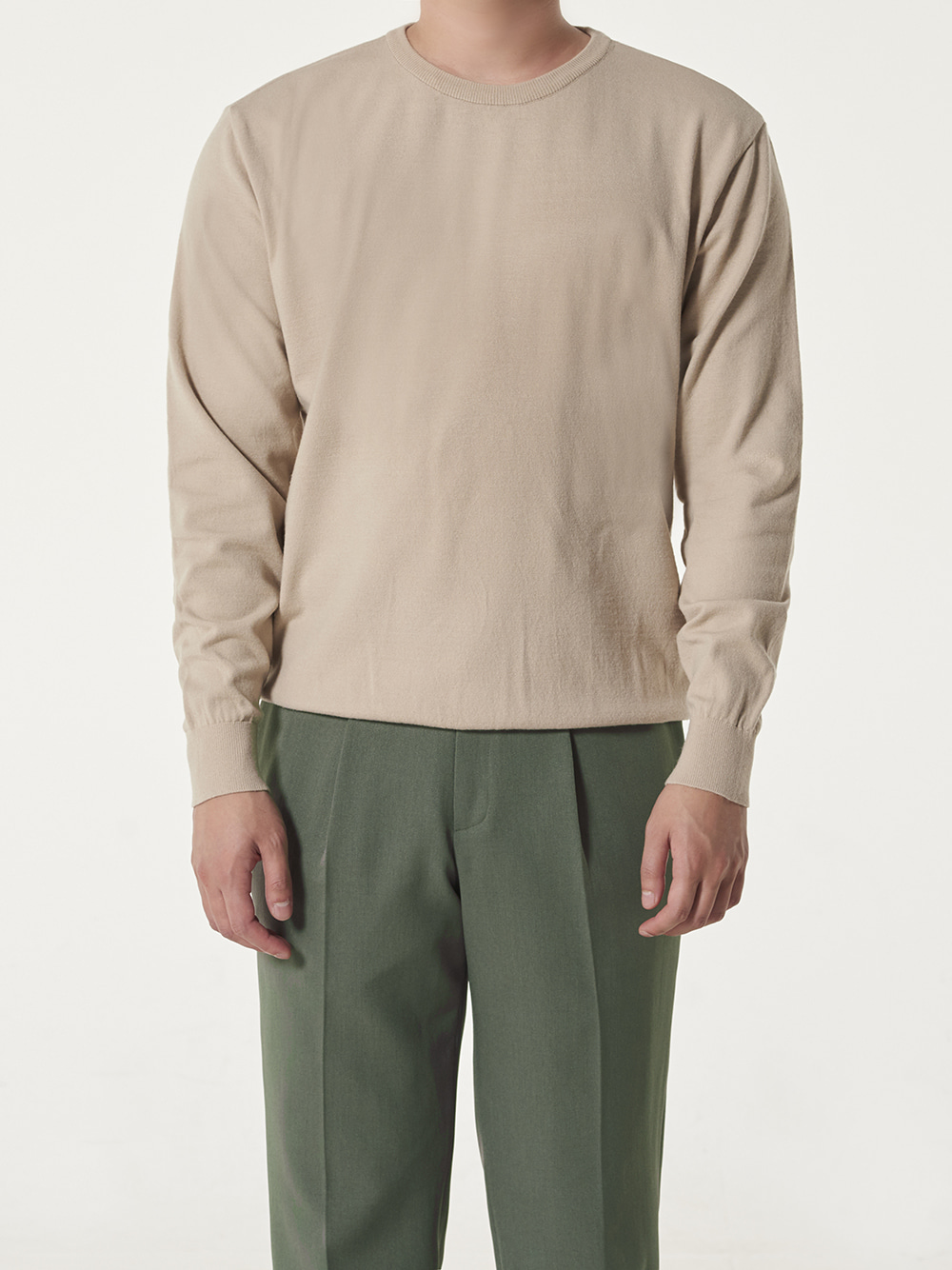 -[DEVERMAN] Soft touch solid crew neck knit (beige)