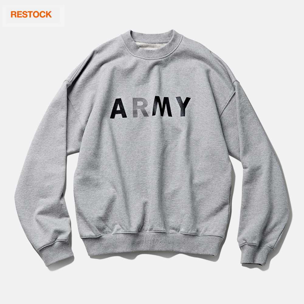 -[DEUTERO] DTR1941 90s ARMY Sweat Shirts Melange Grey