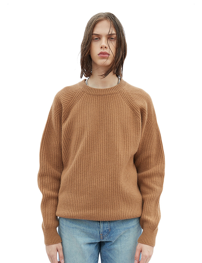-[SAVAGE]Roundneck Heavy Wool Knit - Camel