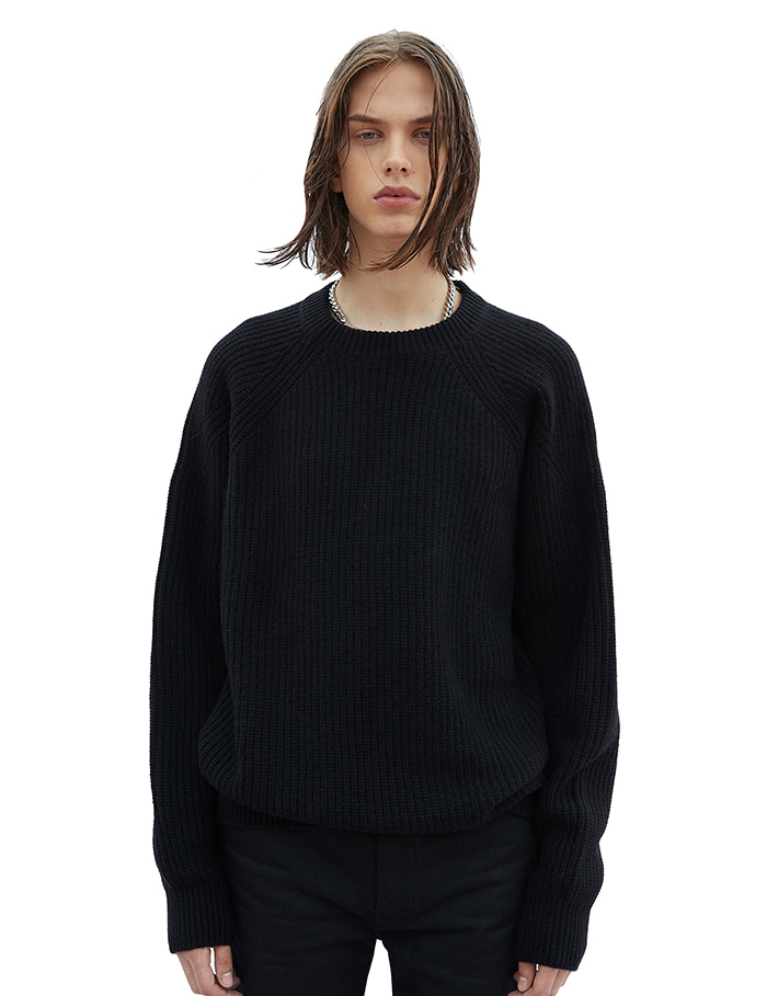 -[SAVAGE]Roundneck Heavy Wool Knit - Black