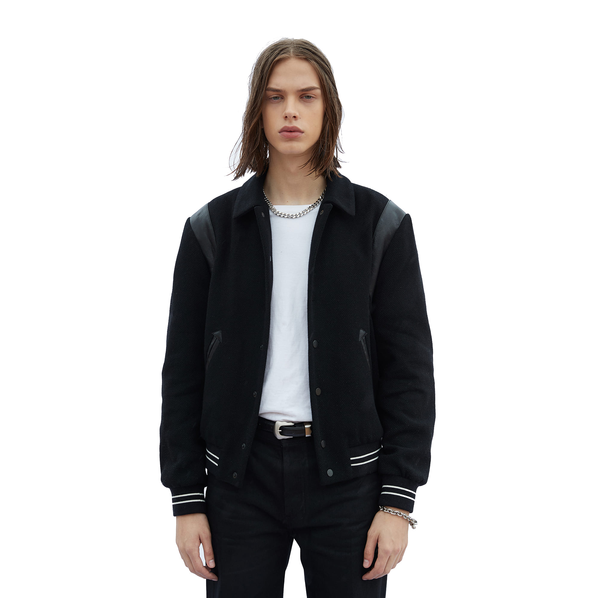 -[SAVAGE] Varsity Jacket - Black