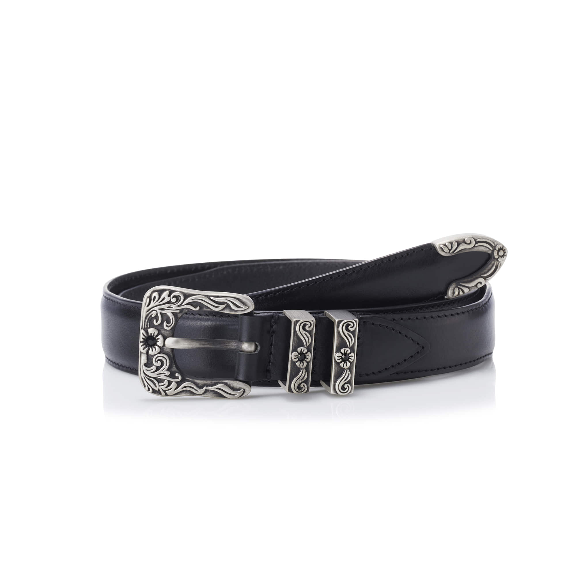 -[SAVAGE] 180 Leather Belt - Black