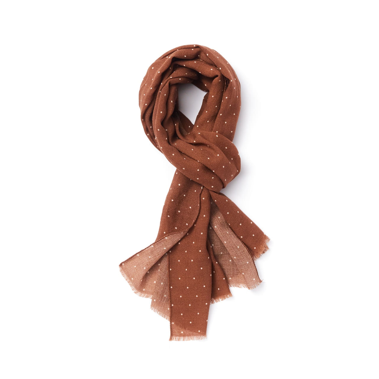-[AMFEAST] BROWN SMALL DOTTED SCARF