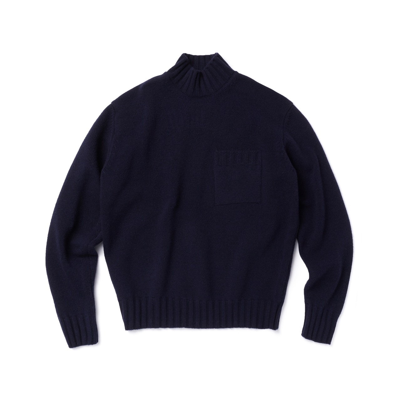 -[AMFEAST] NAVY BIG POCKET SWEATER