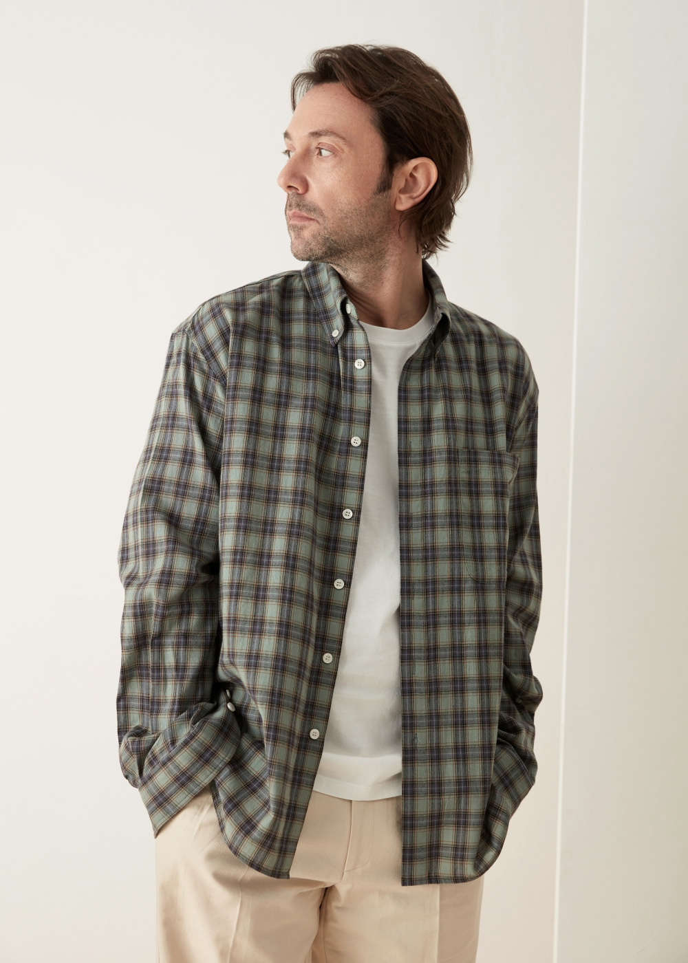 -[KOYU] check shirt -green