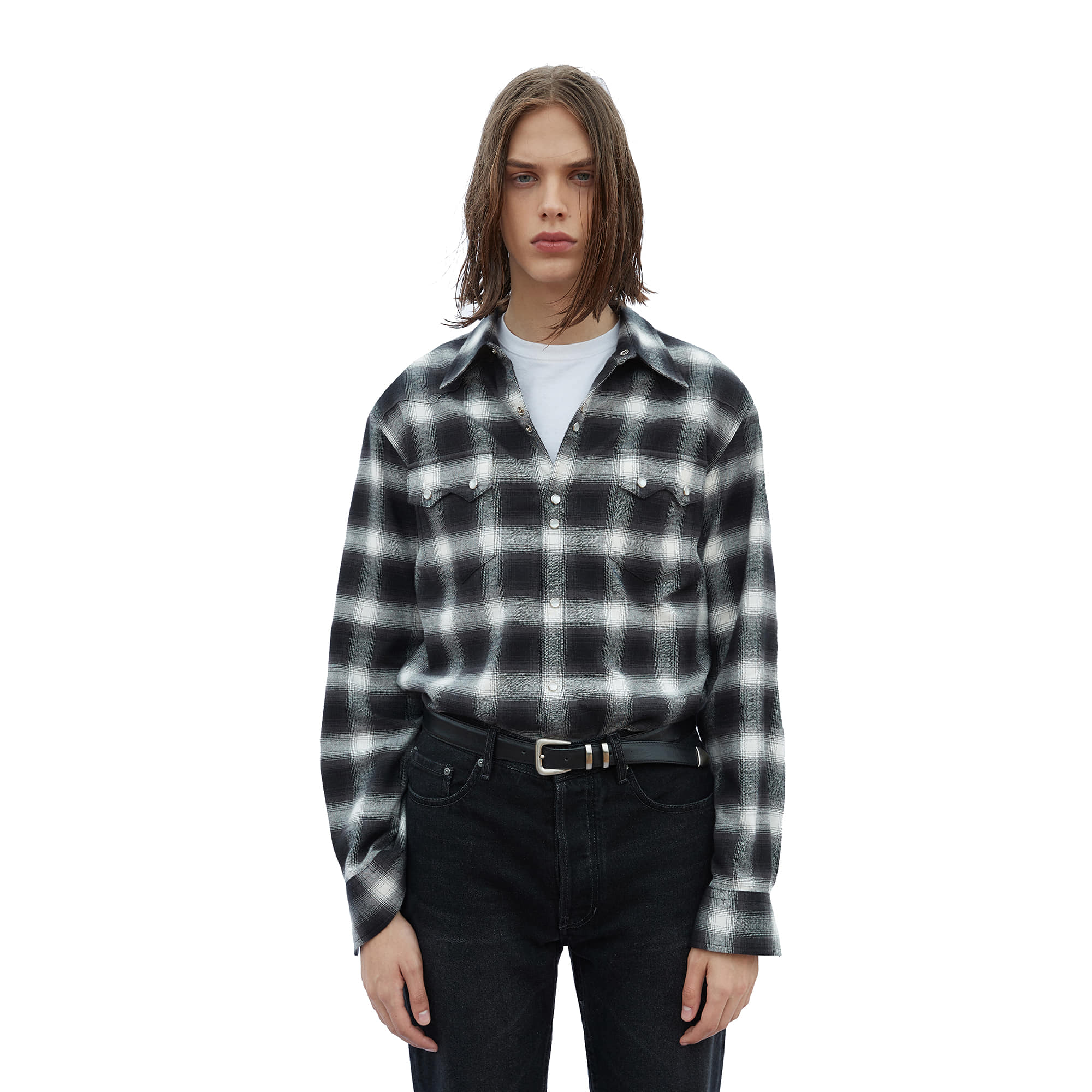-[SAVAGE] Tartan Check Western Shirts - White