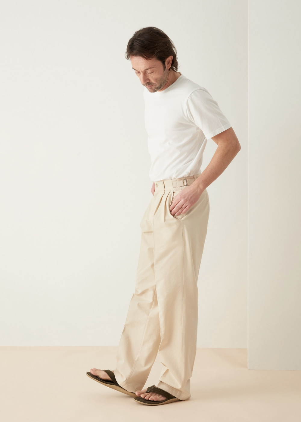 -[KOYU] wide cotton pants - cream