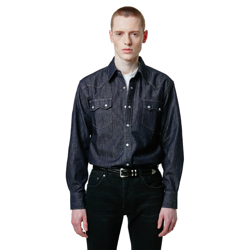 SAVAGE[SAVAGE] Denim Western Shirts - Dark Blue