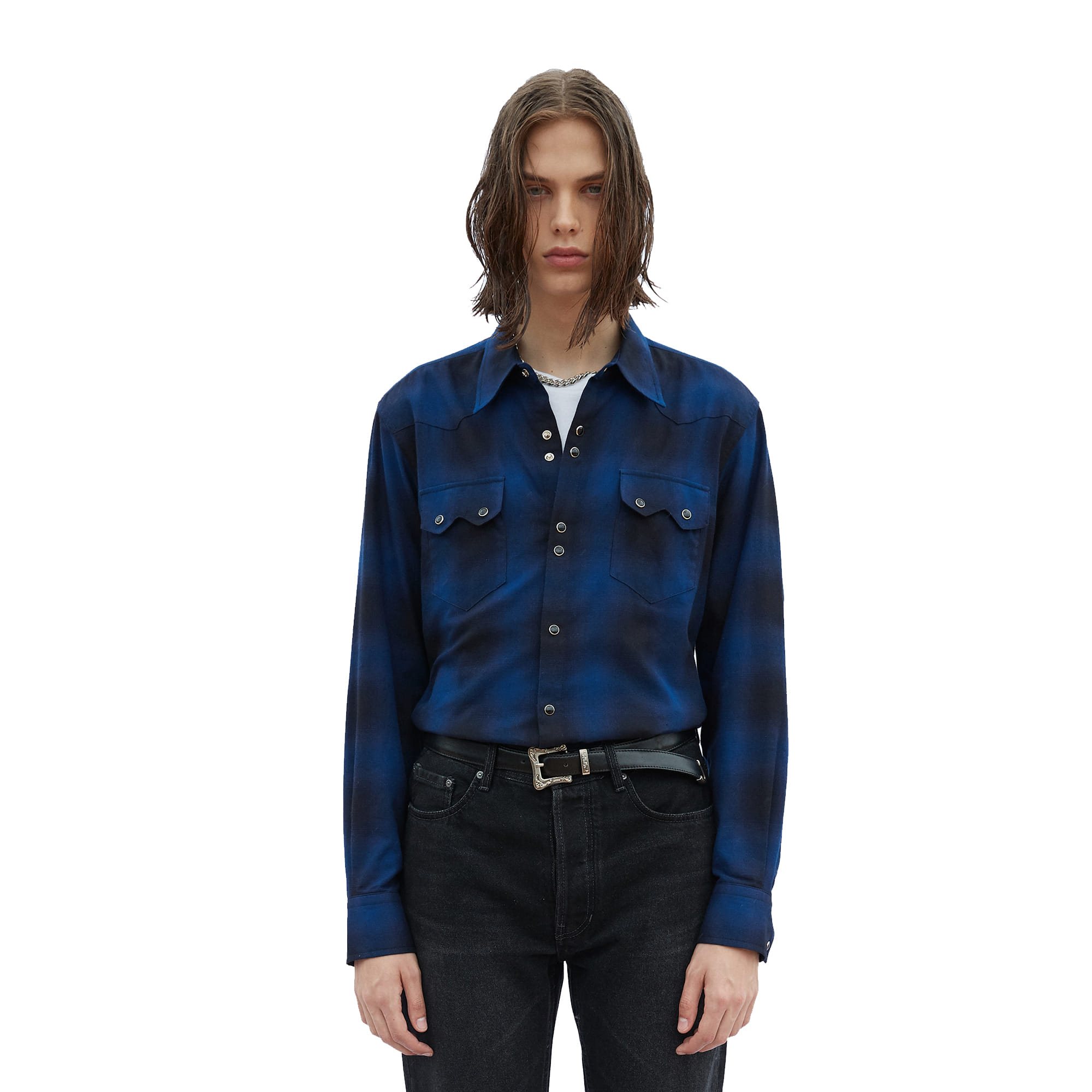 -[SAVAGE] Tartan Check Western Shirts - Blue