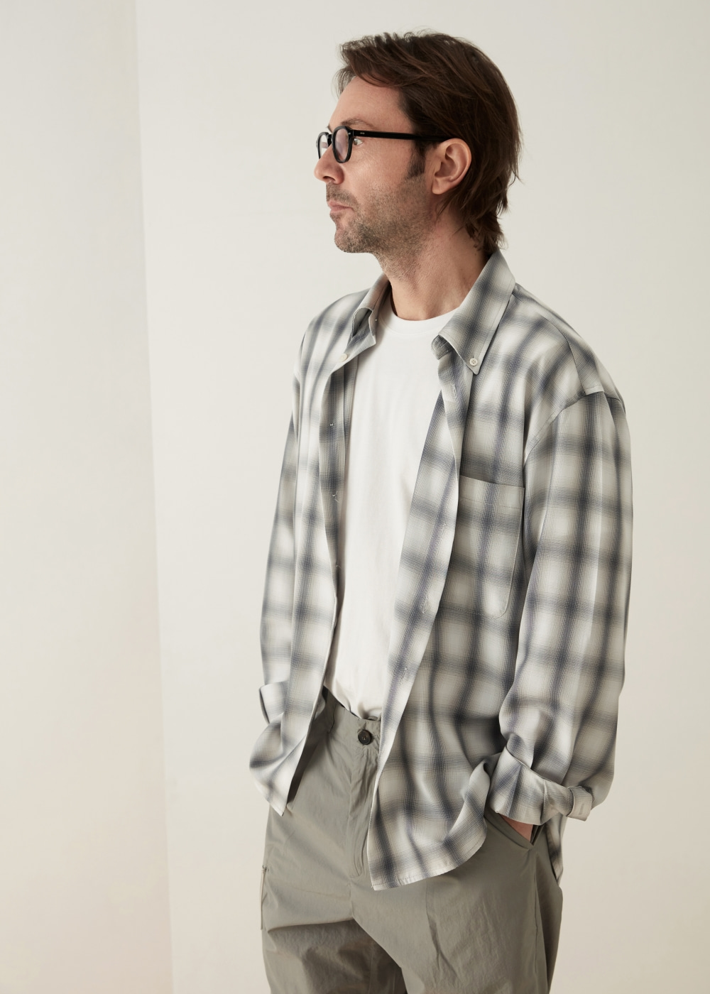 -[KOYU] check shirt -gray