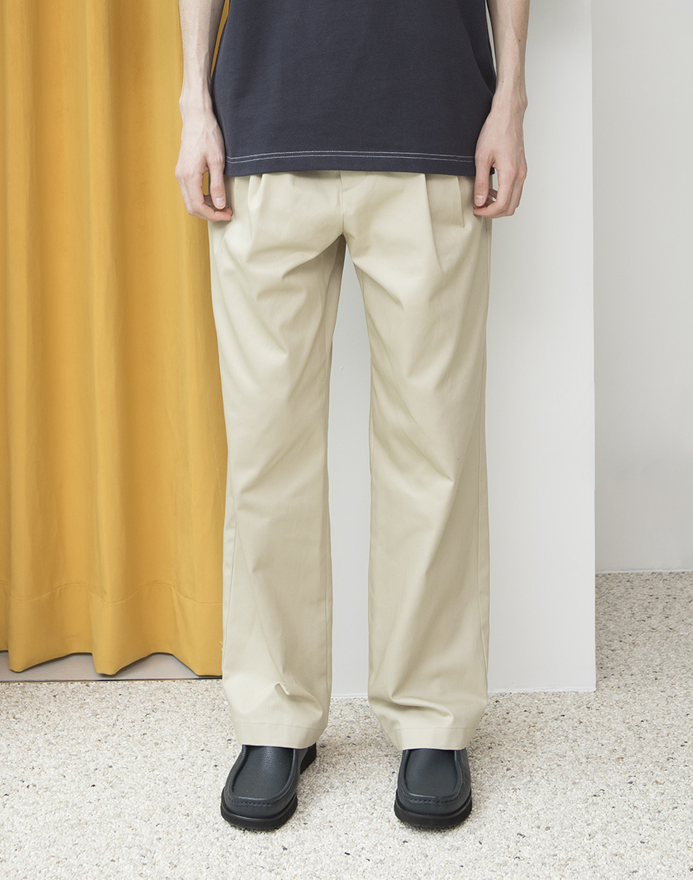 -[ESFAI] 2 TUCK WIDE C.PANTS- beige