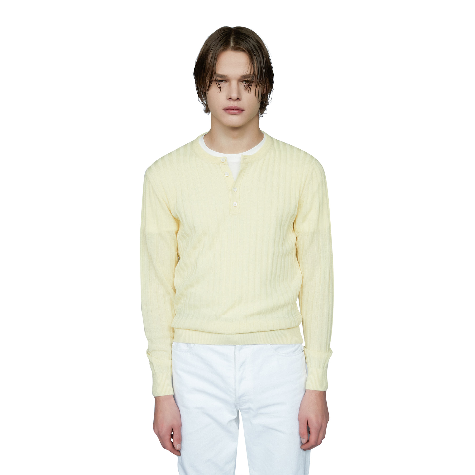 -[SAVAGE] Henley Neck Knit - Yellow
