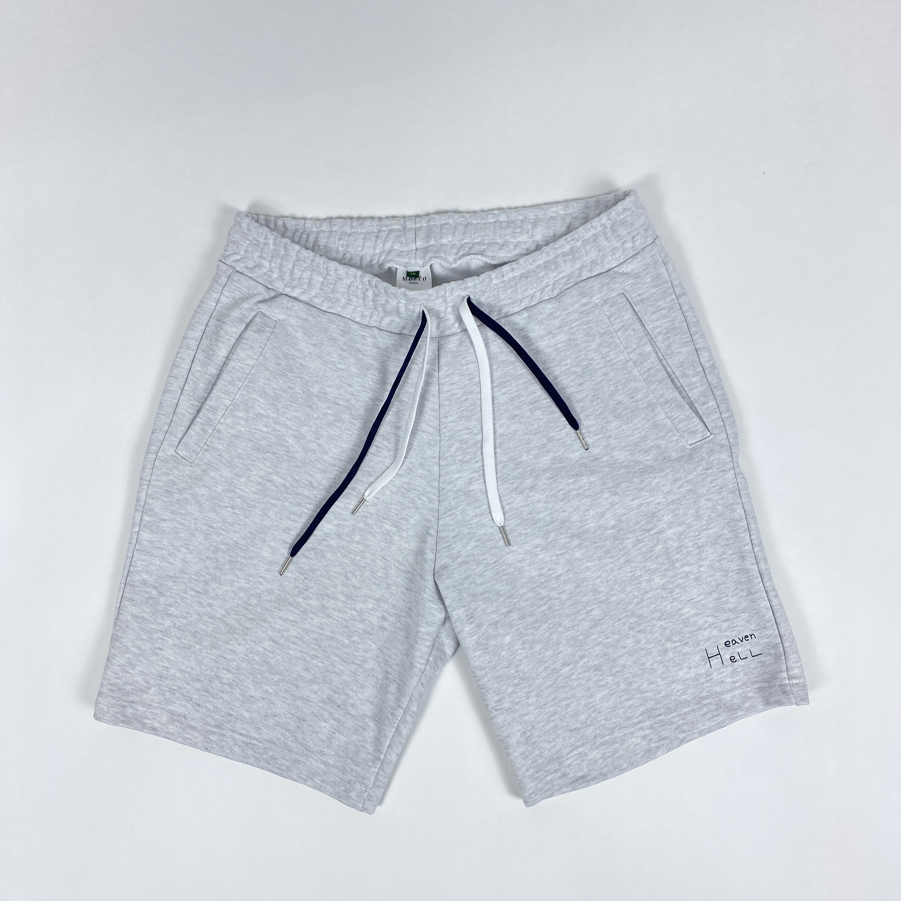 -[MOLTO SEOUL] Hell&Heaven  SWEAT SHORT PANTS - Melange GREY